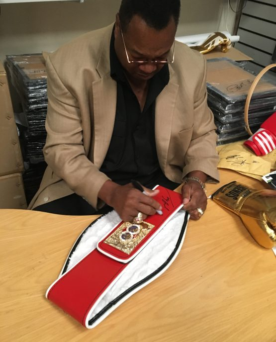 official ibf world title belt signed by larry holmes